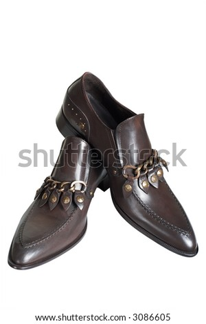 Man's brown low shoes on a white background - stock photo