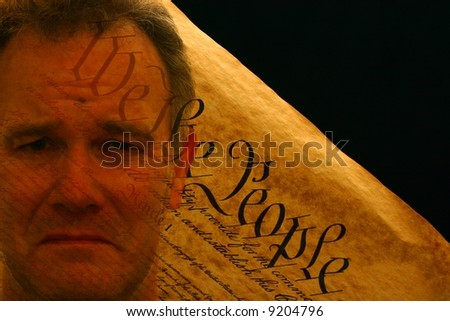Man's face superimposed upon Constitution of the United States - stock photo