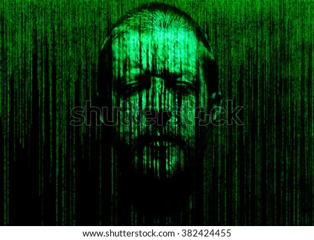 man's face with eyes closed, immersed in a binary code - stock photo