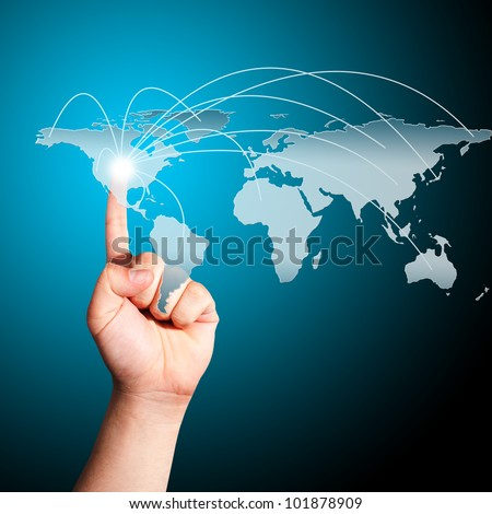 Man's finger pointing on the touch screen with world map. Concept for connectivity - stock photo