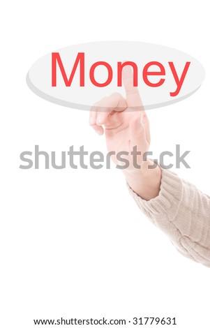 Man's Finger pressing the money key - Isolated over white background - stock photo