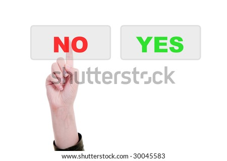 Man's Finger pressing the NO key - Isolated over white background - stock photo
