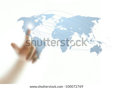 Man's finger touching world map screen for connectivity concept - stock photo