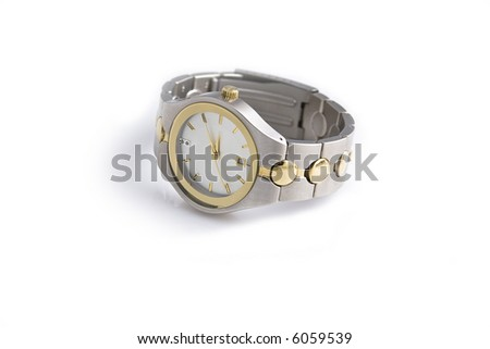 Man's gold and silver wrist watch on a white background. - stock photo