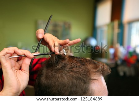 Man's haircut - stock photo