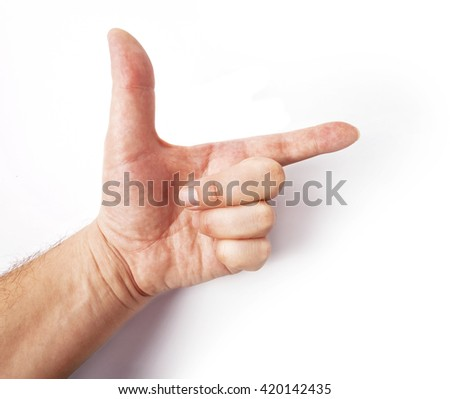 Man's hand and abstract gesture - stock photo