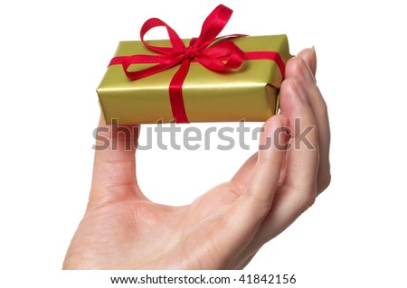 man's hand and gift over white background