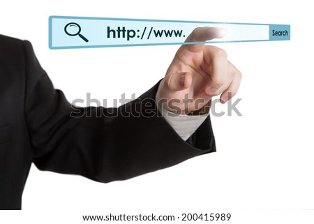 man's hand clicks on the address bar closeup