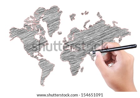 man's hand drawing a world map over white background - stock photo