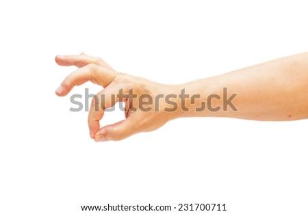 man's hand gesturing - showing sign ok (okay)  - stock photo
