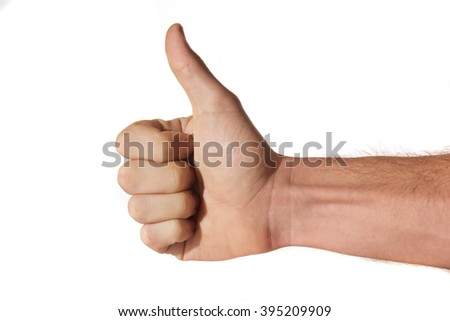 Man's hand giving thumbs up