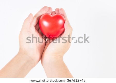 Man's hand handle with heart, love