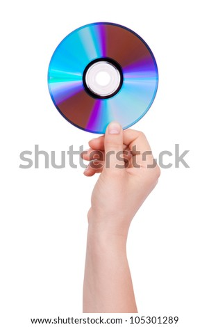 Man's hand holding a compact disc on  white background - stock photo