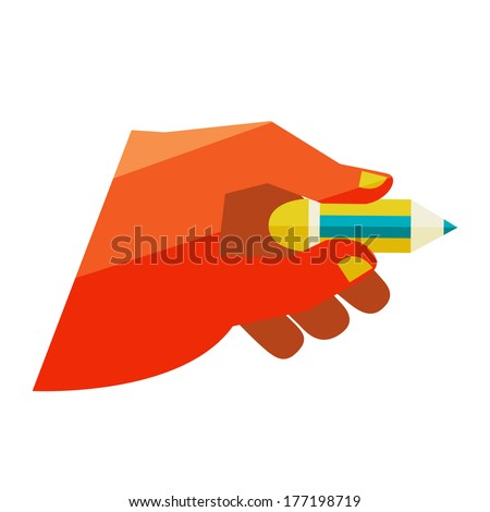 Man's hand holding a pencil. Flat design modern illustration stylish colors of hand holding a business card and hand holding a coin