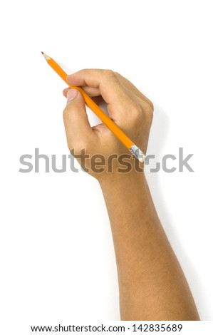 Man`s hand holding a pencil isolated on white background