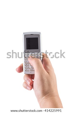 Man's hand holding a phone on white background