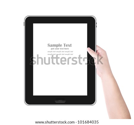 Man's hand holding digital tablet PC with white screen. Isolated on white background - stock photo