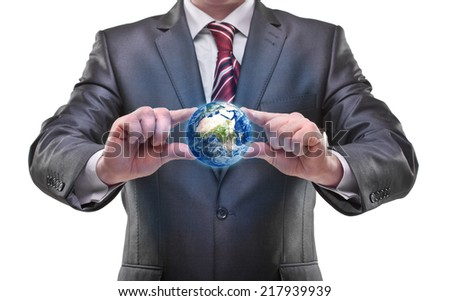 """Man's hand holding Earth (CONCEPT) """"Elements of this image furnished by NASA"""" isolated on white background High resolution - stock photo"""