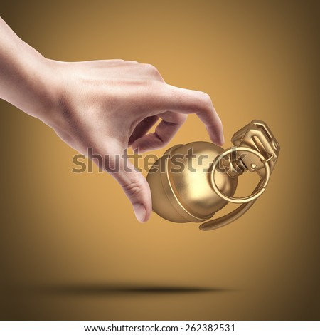 Man's hand holding golden Grenade. High resolution 3D. collection of gold objects