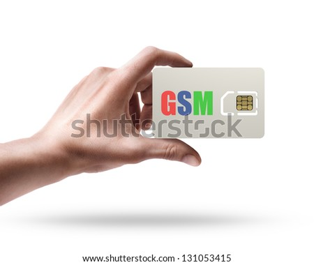 Man's hand holding GSM sim card isolated on white background - stock photo