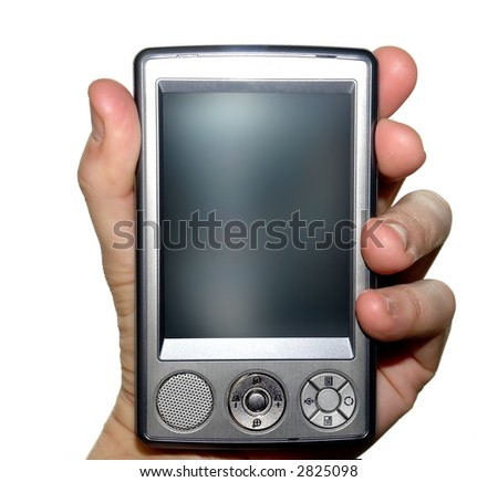 Man's hand holding pda - isolated - stock photo