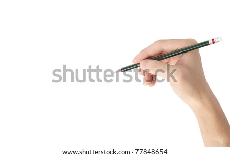 Man's hand holding  pencil isolated on white background - stock photo