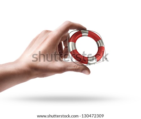 Man's hand holding Red lifebelt isolated on white background - stock photo