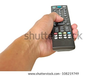 man's hand holding remote control isolated on white - stock photo