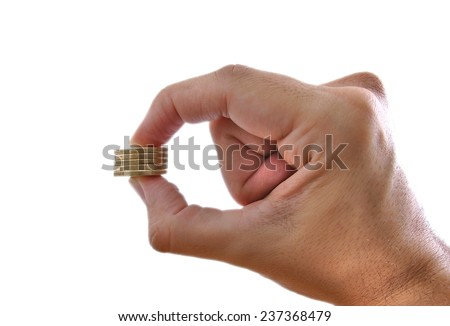 Man's hand holding some euros isolated on white - stock photo