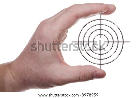 Man's hand holds a target. Isolated on white. - stock photo