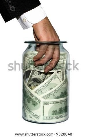 Man's hand in bank with money