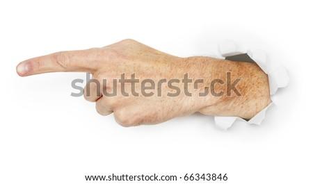 Man's hand indicates direction - stock photo