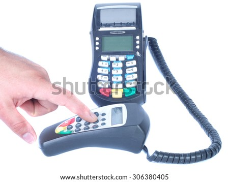 Man`s hand input pin code and visa card scanner isolated white