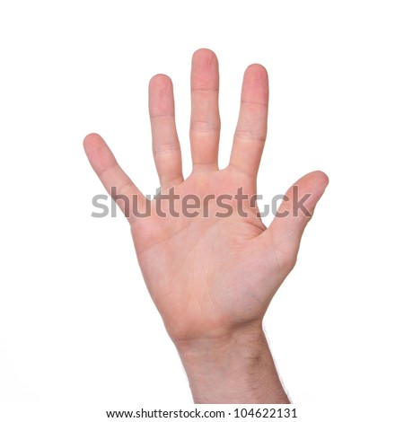 Man's hand isolated on a white background - stock photo