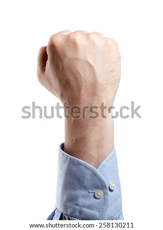 Man's hand isolated on white. Fist. - stock photo