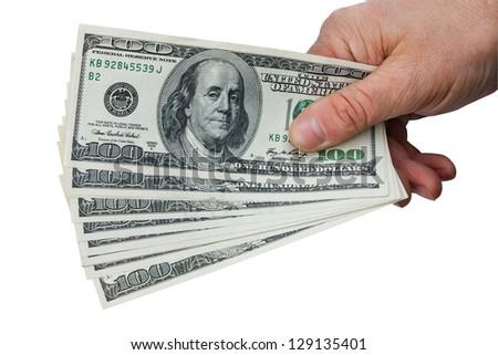 Man's hand keeps money, isolated on white background - stock photo