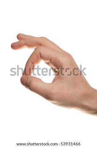 man's hand make OK isolated on white background - stock photo