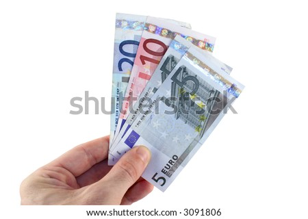 Man's hand offering Euros for payment