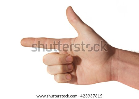 man's hand pointing like a gun