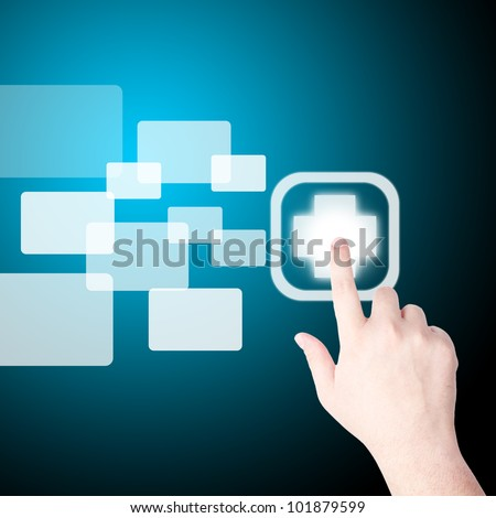 Man's Hand pushing on the medical sign on touch screen monitor
