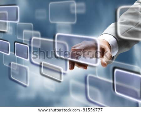 Man's hand pushing the button - stock photo