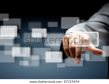 Man's hand pushing the button.Choice concept - stock photo