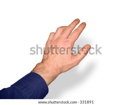 Man's hand reaching towards upper right, on white background with shadow.