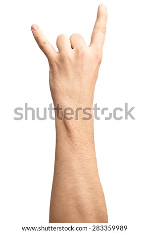 Man's hand rocker on Isolated white background. Hand giving the devil horns gesture. Alpha.Two fingers up. 2