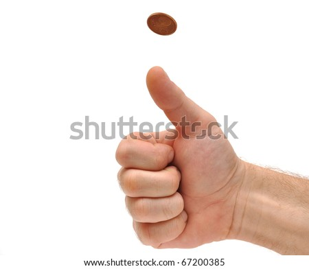 Man's hand throwing up a coin to make a decision on white - stock photo