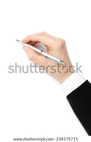 Man's hand with a ballpoint pen on a white background - stock photo