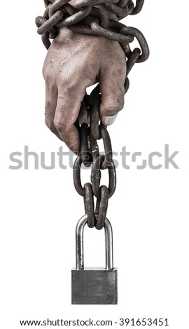 Man's hand with a old metal chain. - stock photo