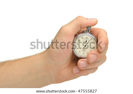 Man's hand with a stop watch. It is isolated on a white background