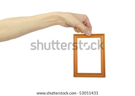 man's hand with frame , closeup, isolated background - stock photo