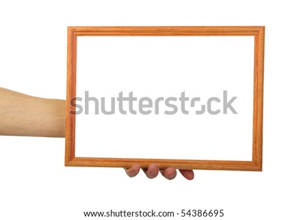 man's hand with frame , closeup, isolated background